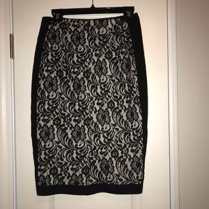 Black and white lace skirt